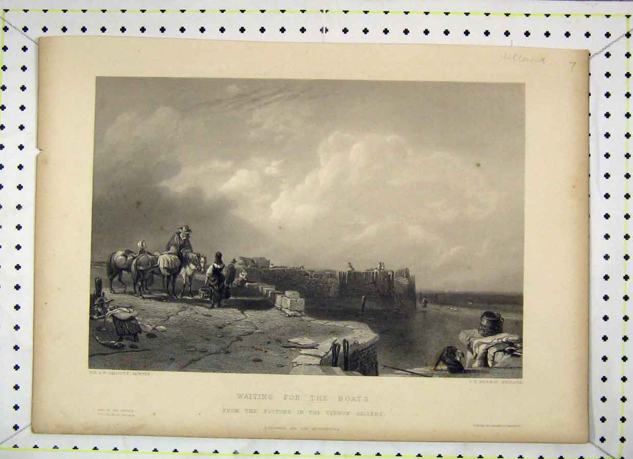 Print Waiting Boats Harbour Kernot Engraving 431B230 Old Original