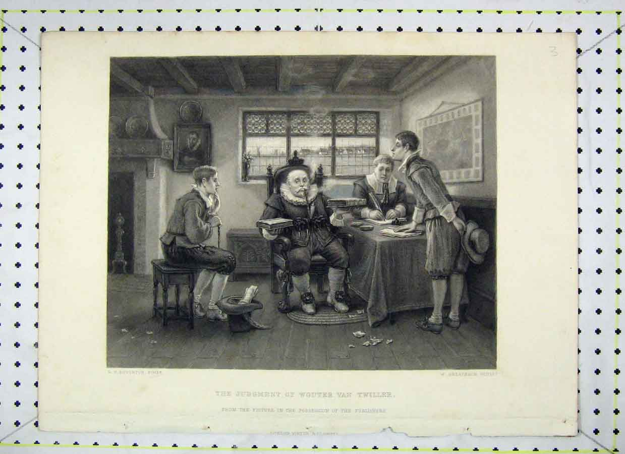 Print Scene Judgement Woutervan Twiller Greatbach Engraving 434B230 Old Original