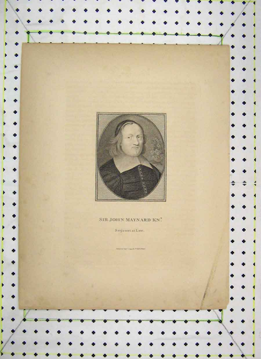 Print Portrait Sir John Maynard Law 1794 Cadell 444B230 Old Original