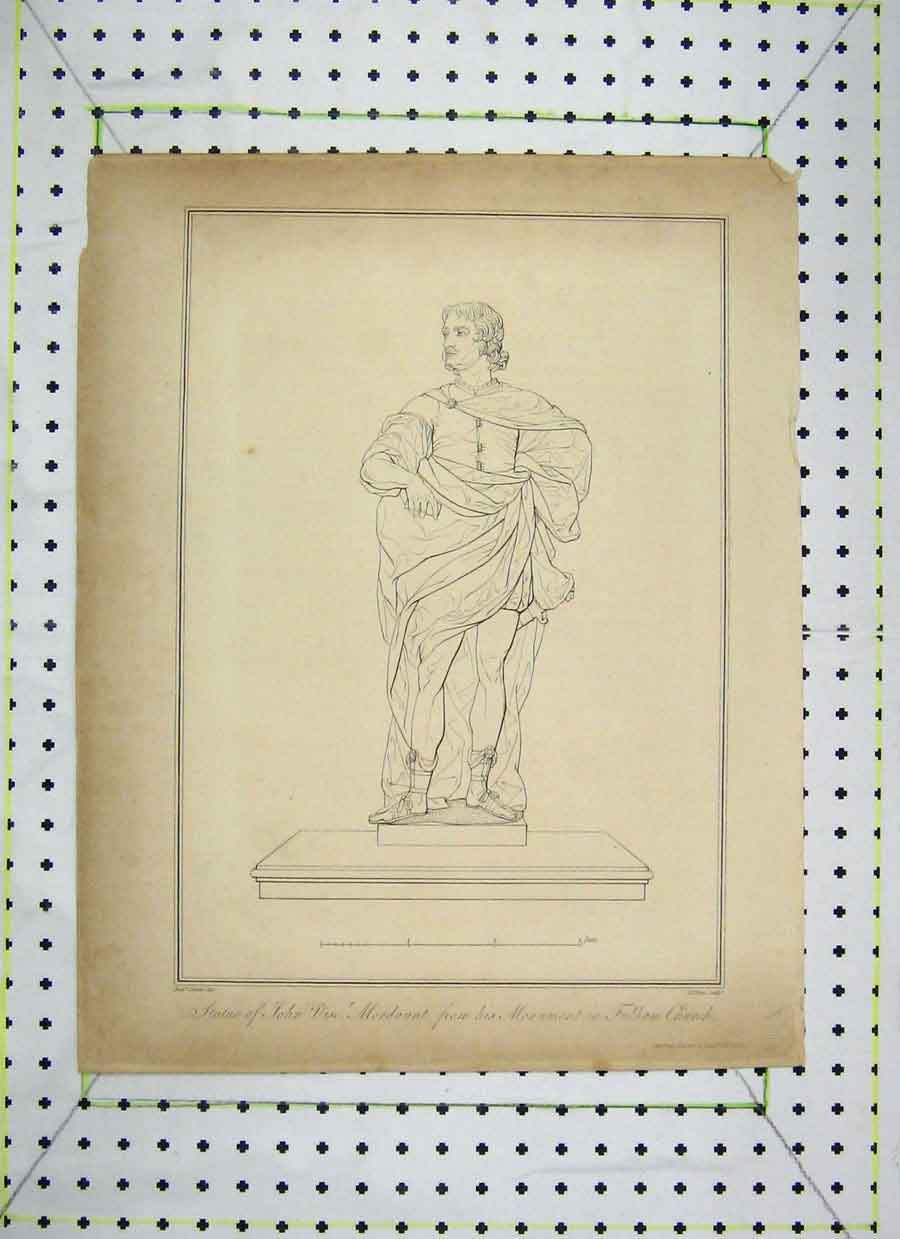Print Statue John Viscount Mordaunt Monument Fulham Church 447B230 Old Original