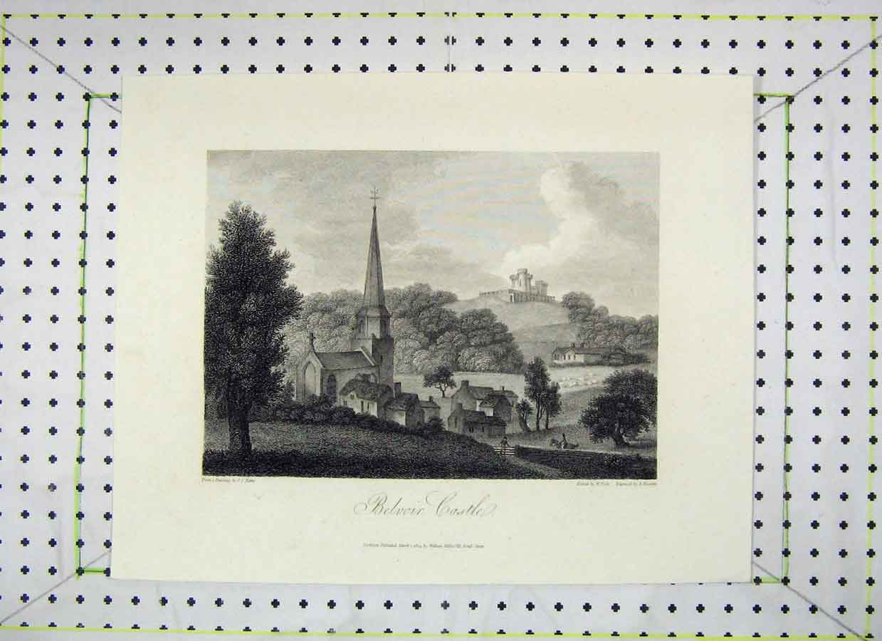 Print 1804 View Belvoir Castle Engraved Howlett 451B230 Old Original