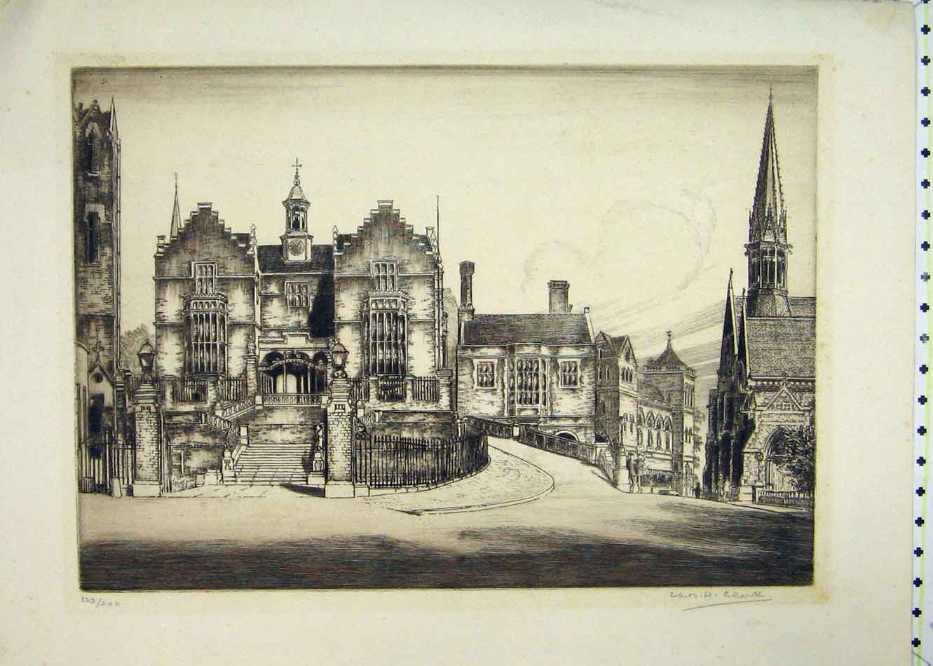 Print Street Scene Buildings Church Limited Edition 206B231 Old Original