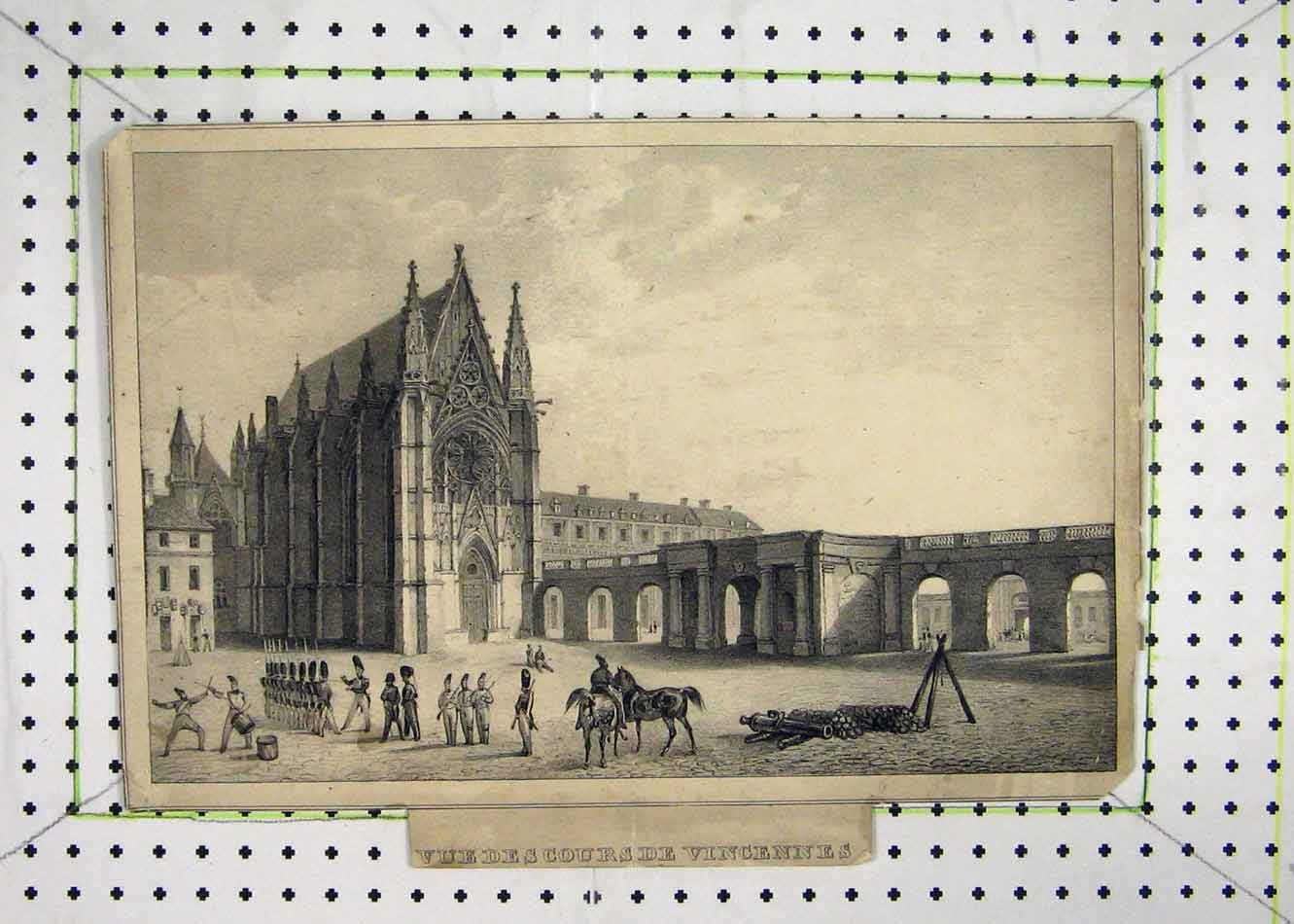 Print View Soldiers Marching Cathedral Horse 208B231 Old Original