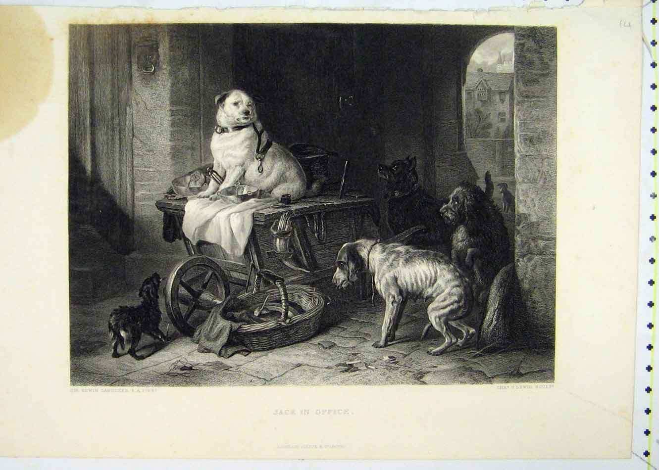 Print Jack Office Dogs Playing Cart Lewis 229B231 Old Original