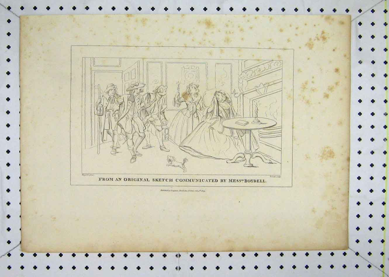 Print 1809 Men Women Sketch House Scene Boydell Cook 115B232 Old Original