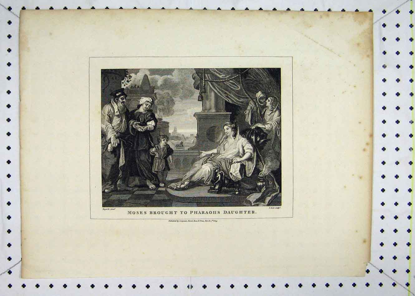 Print 1809 Scene Moses Brought Pharaohs Daughter 119B232 Old Original