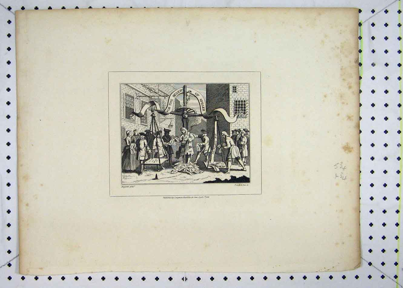 Print 1808 Street Scene Weigh Machine Spiller 120B232 Old Original