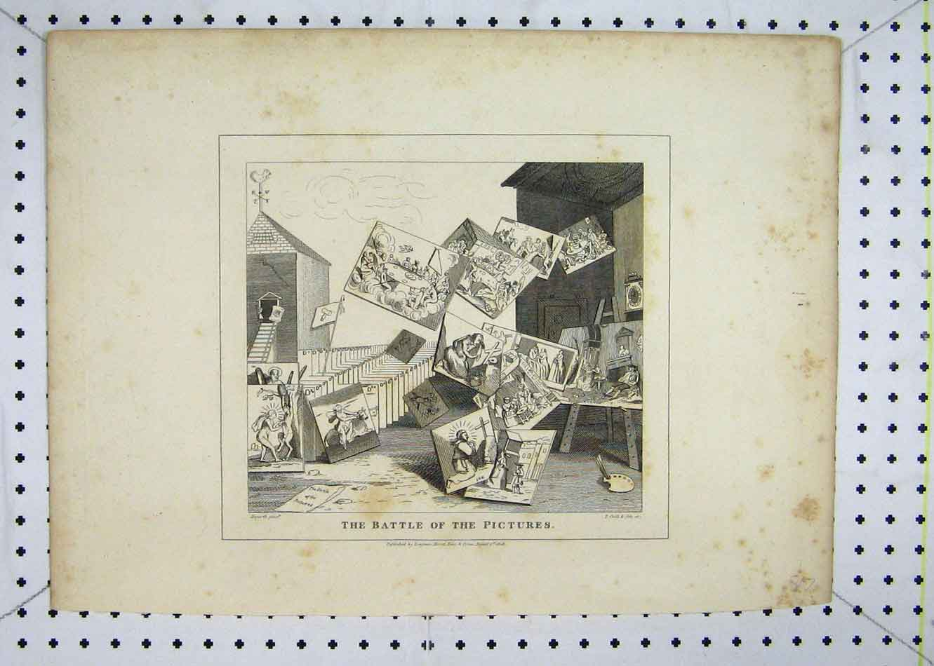 Print 1808 Battle Pictures Flying Painting Cook 122B232 Old Original