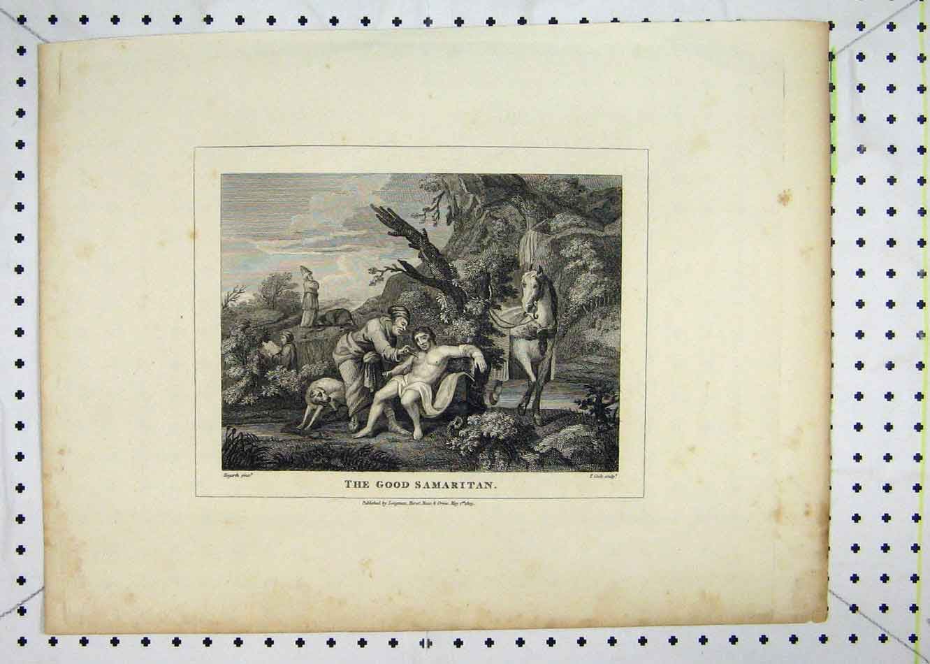 Print 1809 Scene Good Samaritan Injured Man 125B232 Old Original