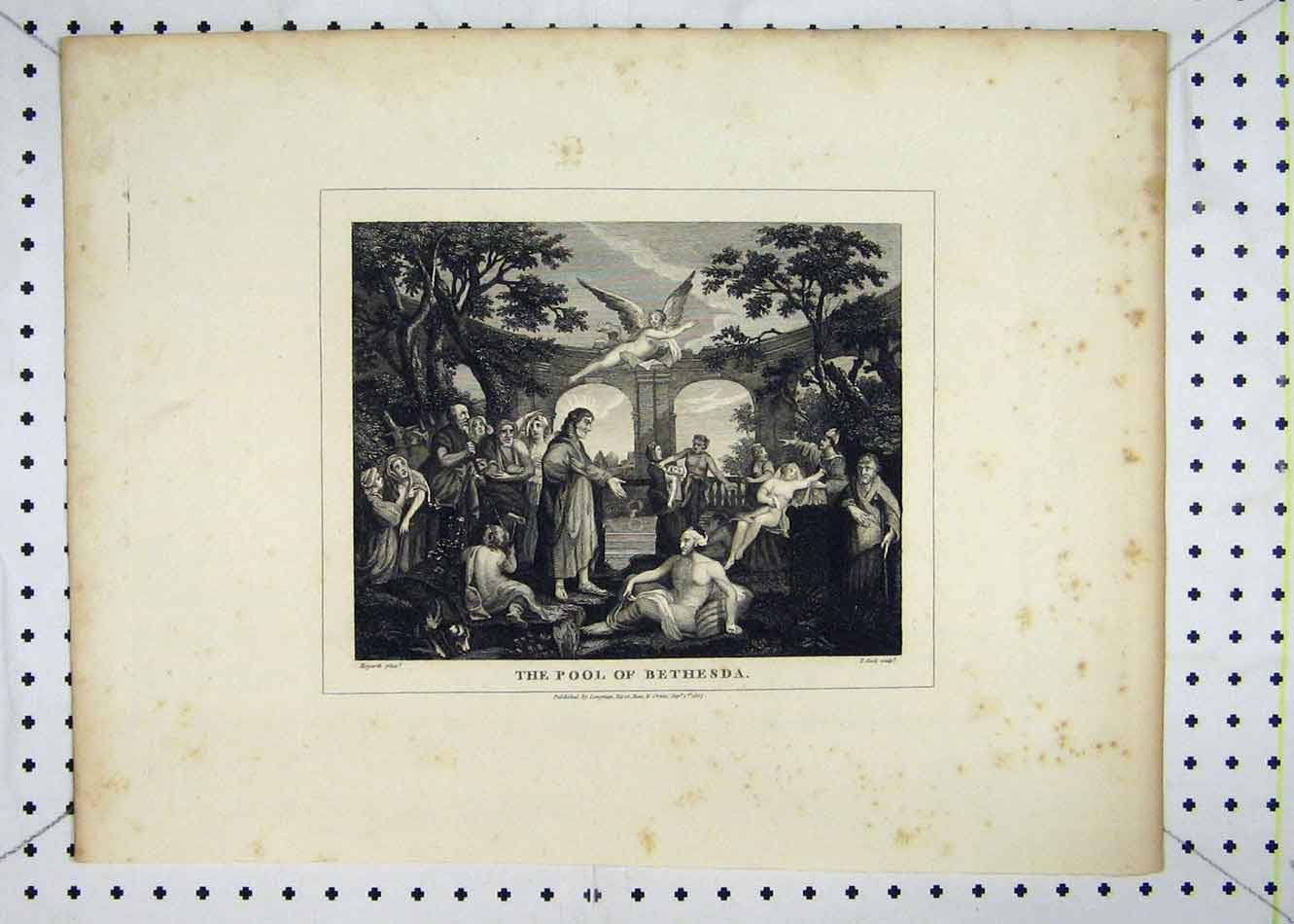 Print 1807 Scene Pool Bathesda Hogarth Cook 128B232 Old Original
