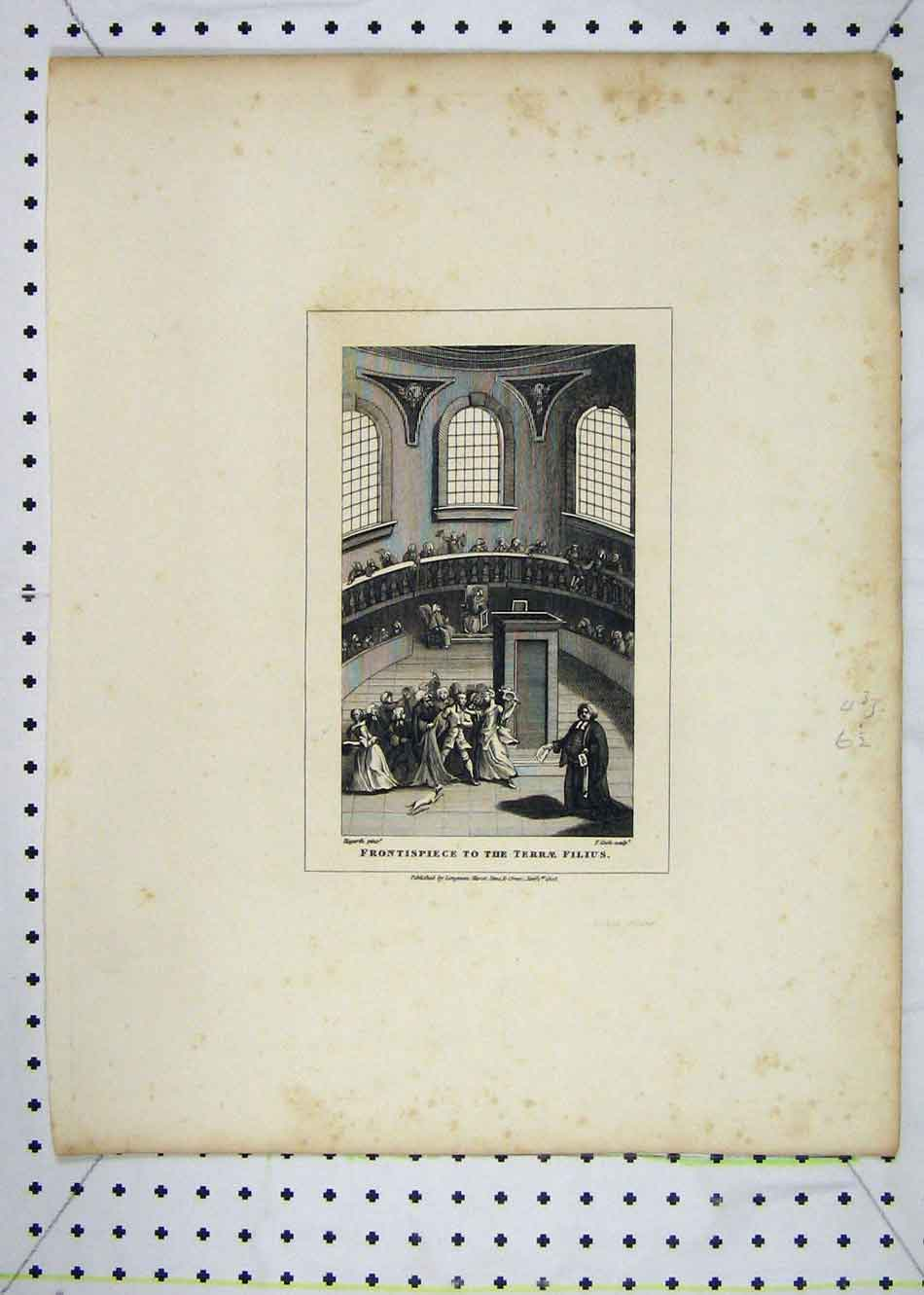 Print 1808 Frontispiece Terrae Filius Hogarth Cook Engraving 131B232 Old Original