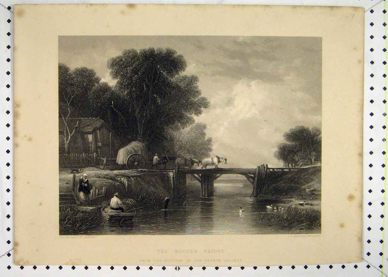 Print Scene Wooden Bridge Country Scene Horse Cart Bentley 153B232 Old Original