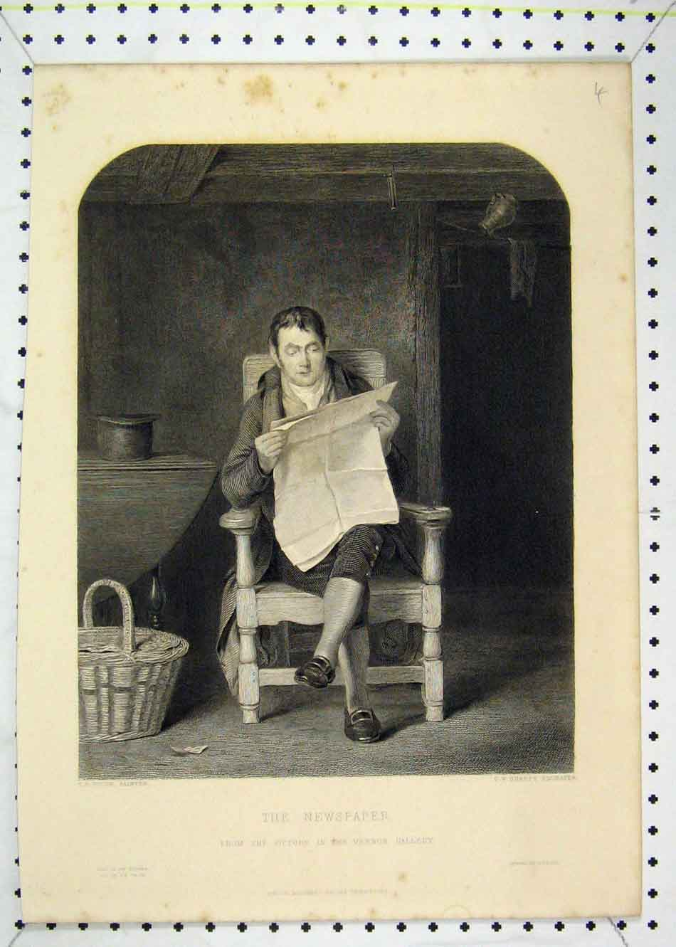 Print View Man Reading Newspaper Sitting Chair Sharpe Goode 154B232 Old Original