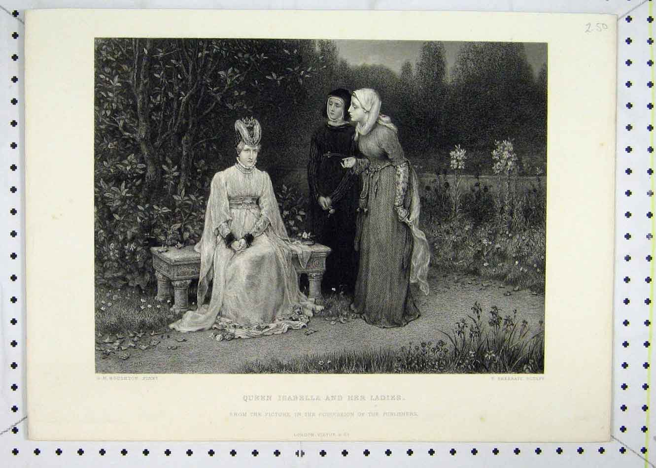 Print Scene Queen Isabella Ladies Country Garden Sherratt 157B232 Old Original