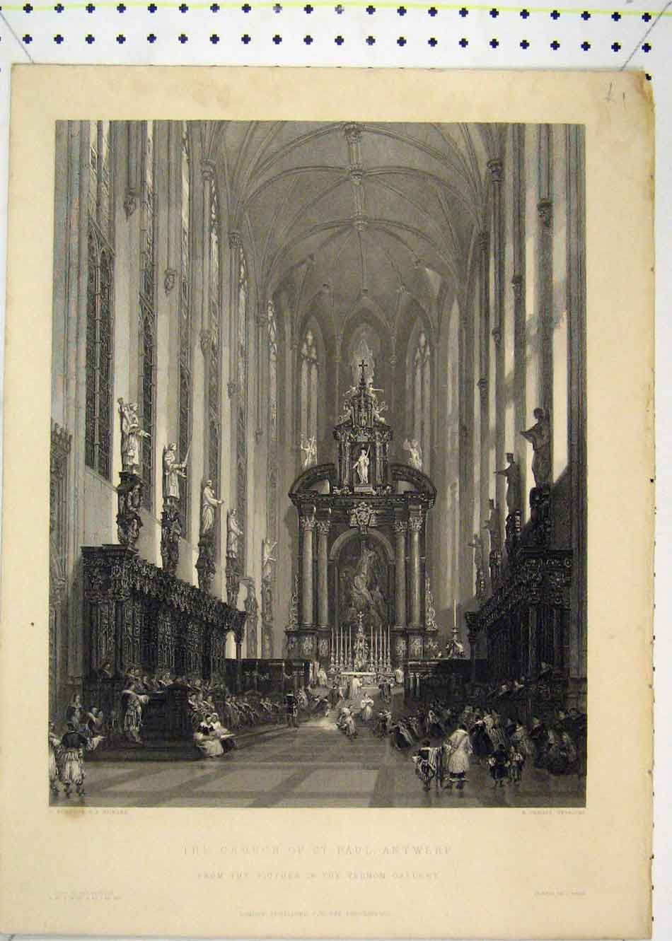 Print Interior View Church St Paul Antwerp Challis Engraving 171B232 Old Original