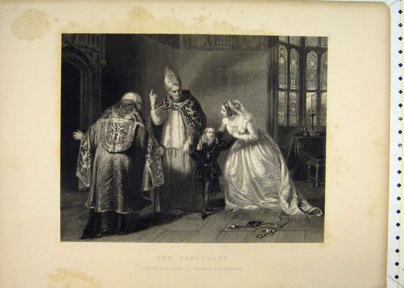 Print Sanctuary Bishop Family Robinson Engraved 173B232 Old Original