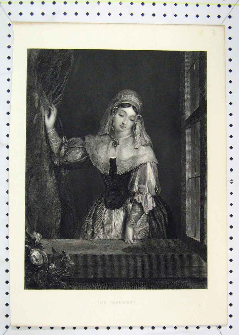 Print Beautiful Young Window Gazing Window 179B232 Old Original