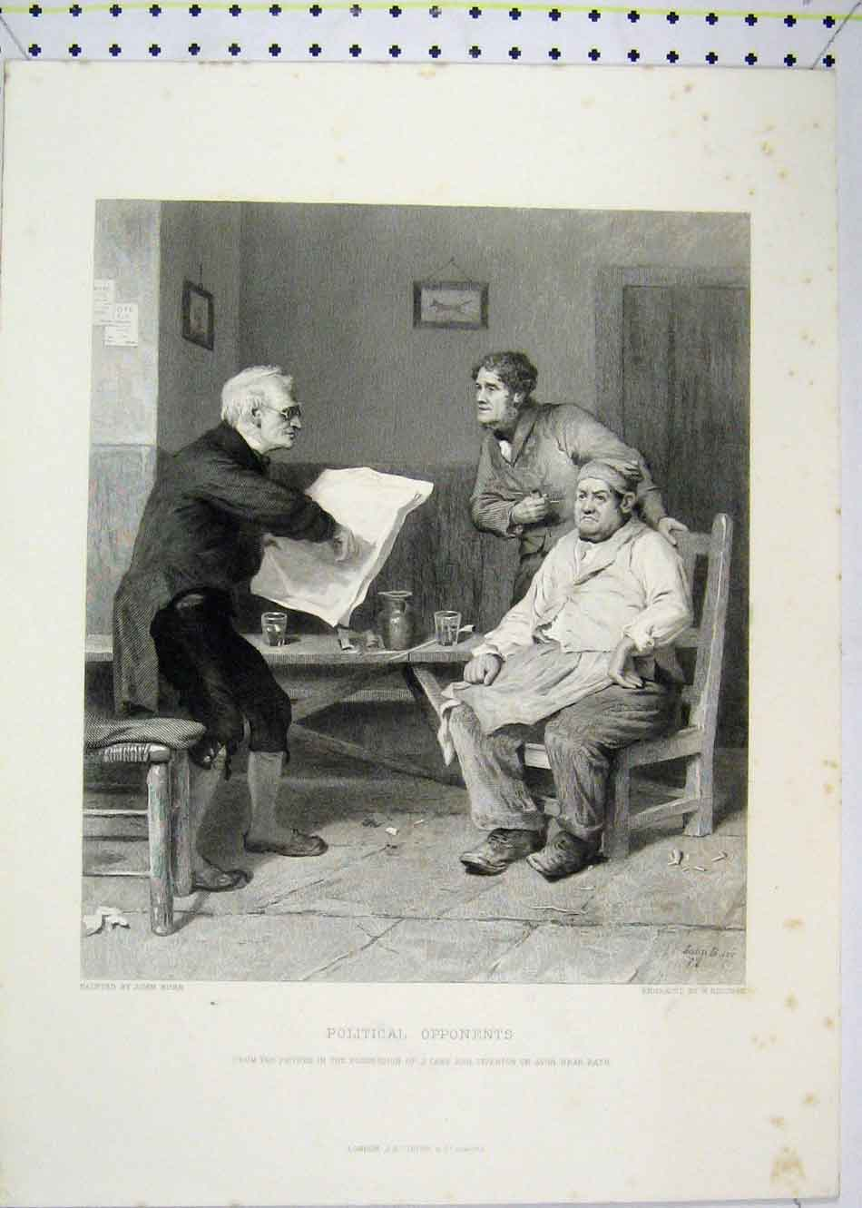 Print Scene Men Political Opponents Reading Paper Ridgway 180B232 Old Original