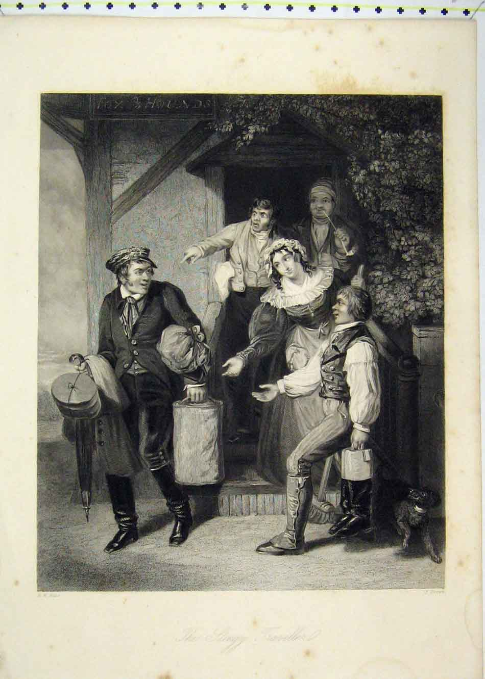 Print View Stingy Traveller Family Begging 181B232 Old Original