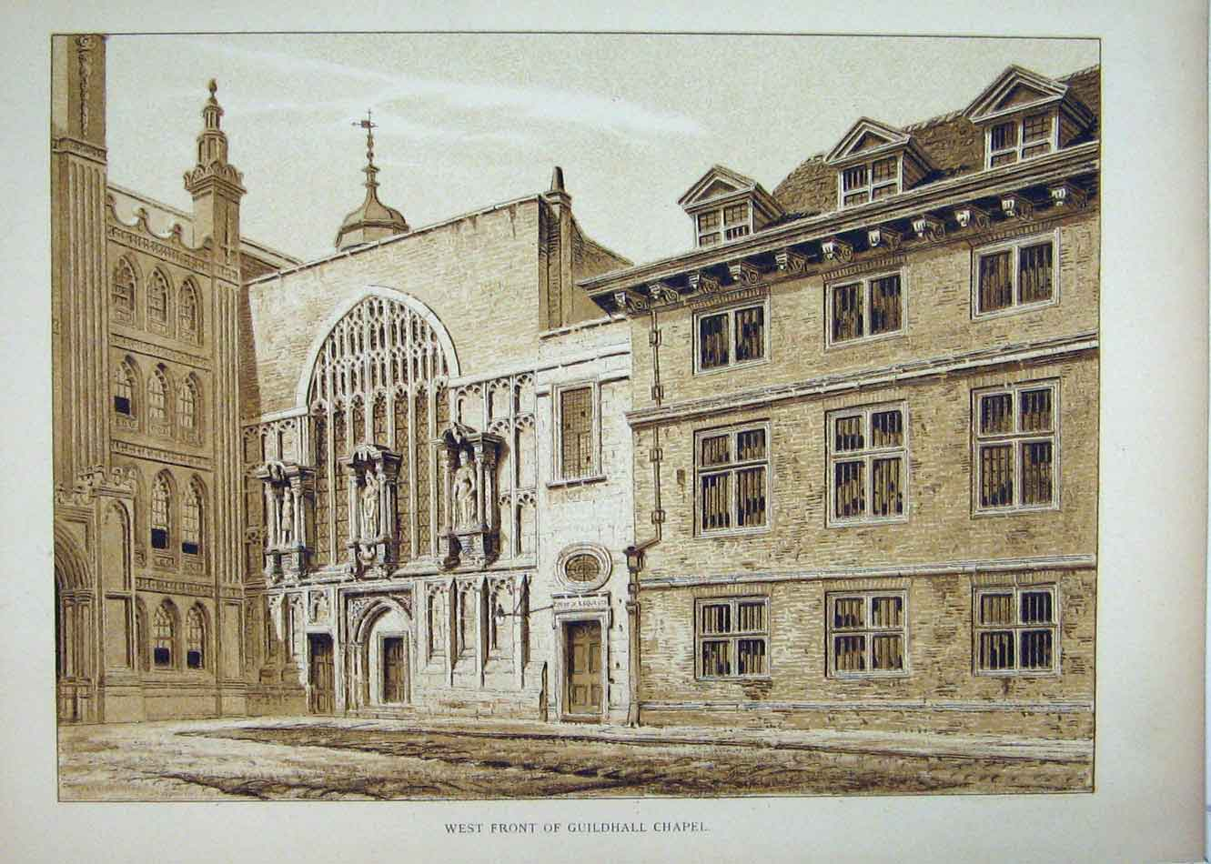 Print View West Front Guildhall Chapel 1827 188B232 Old Original
