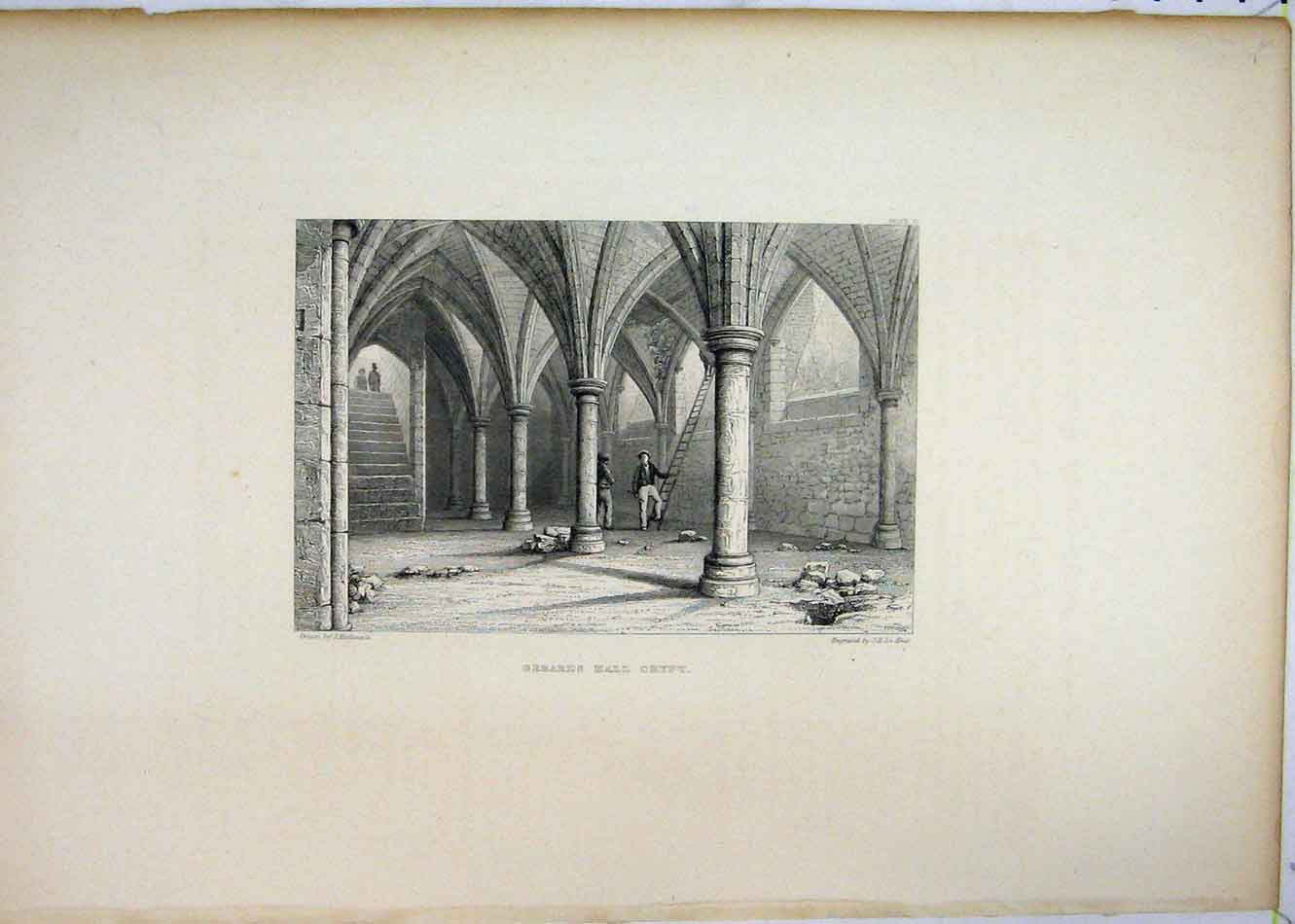 Print View Gerards Hall Crypt Keux Engraving 193B232 Old Original