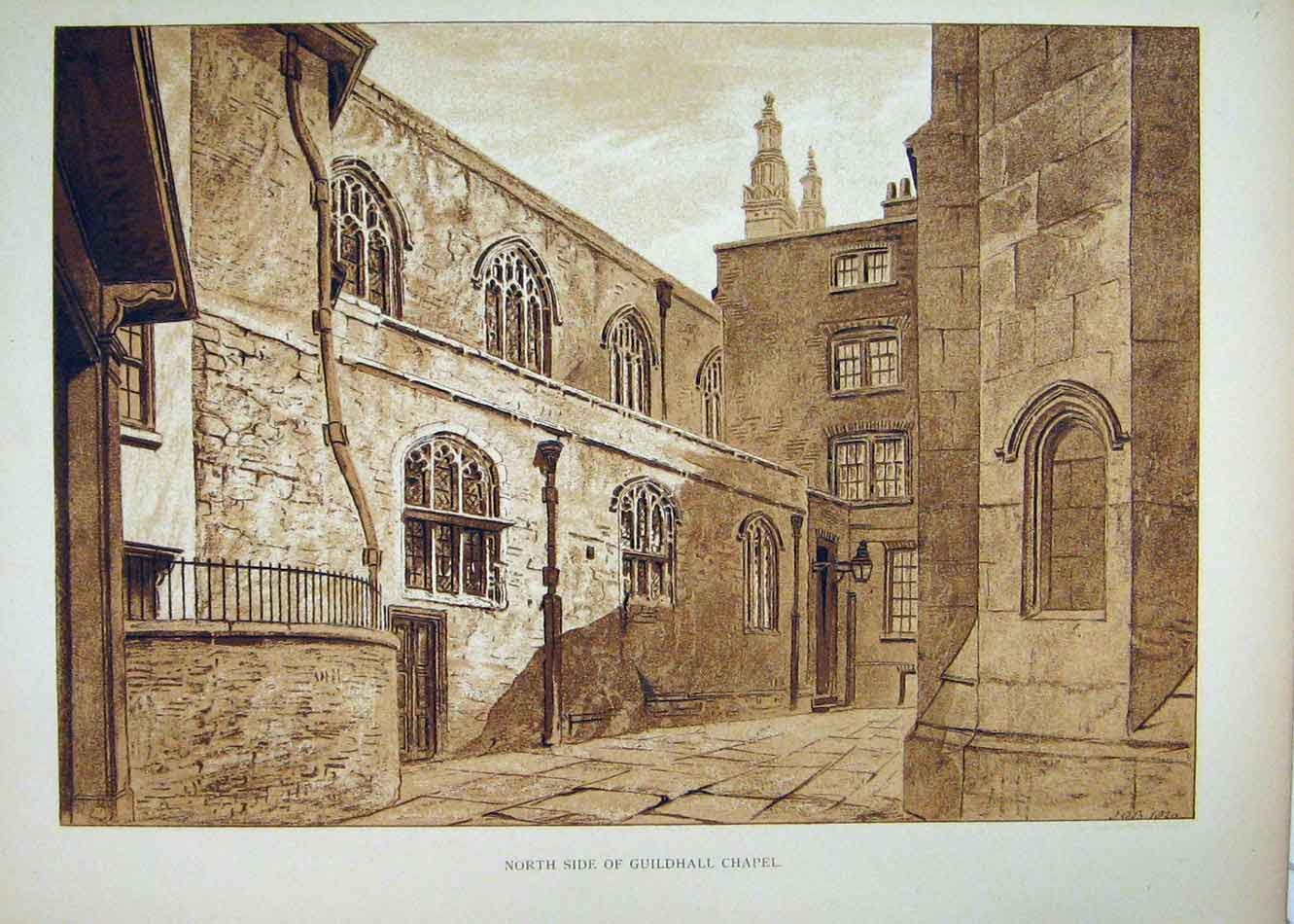 Print View North Side Guildhall Chapel Exterior 196B232 Old Original