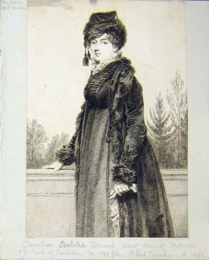 Print  Scrapbook C1880 Portrait Caroline Howard 108B239 Old Original