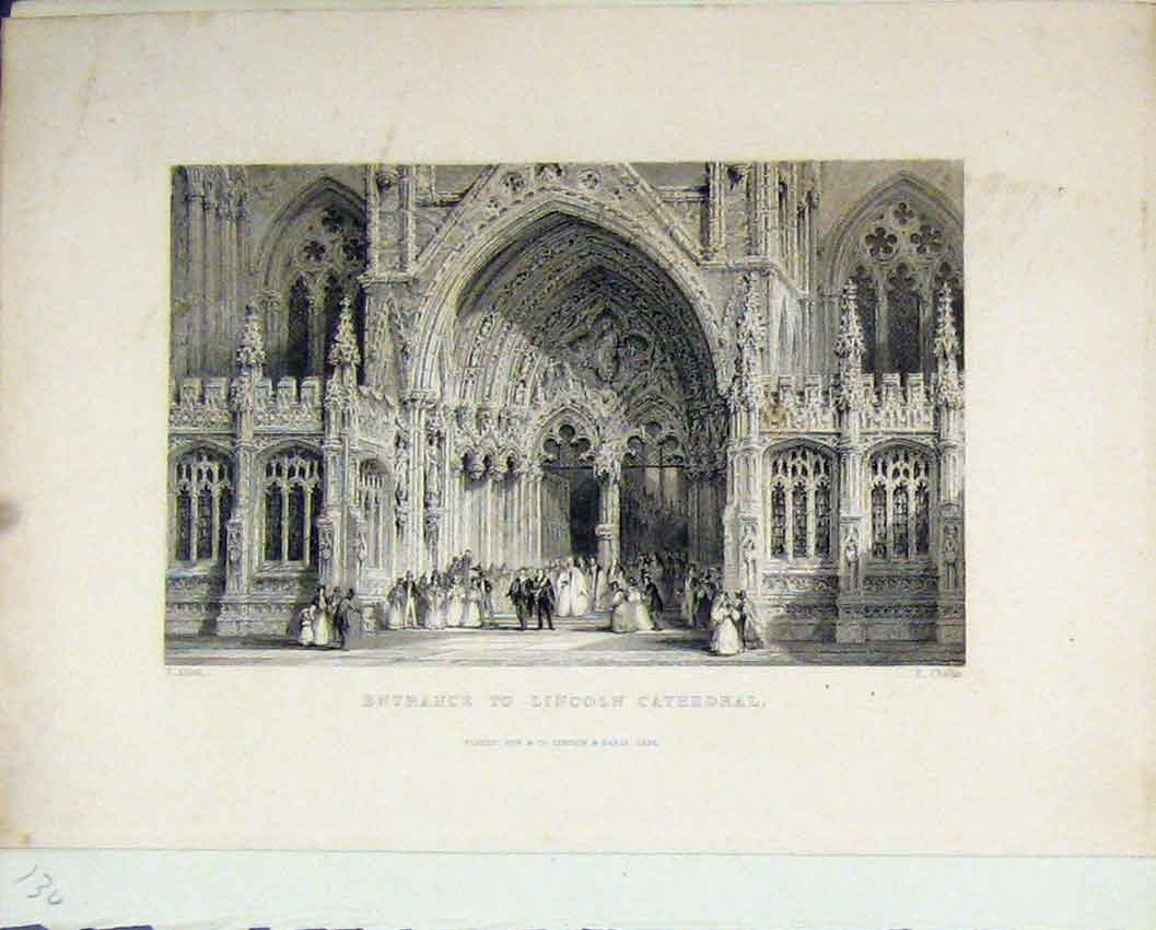 Print Lincoln Cathedral 1836 Rabbit Shooting Scrapbook 134Rb239 Old Original