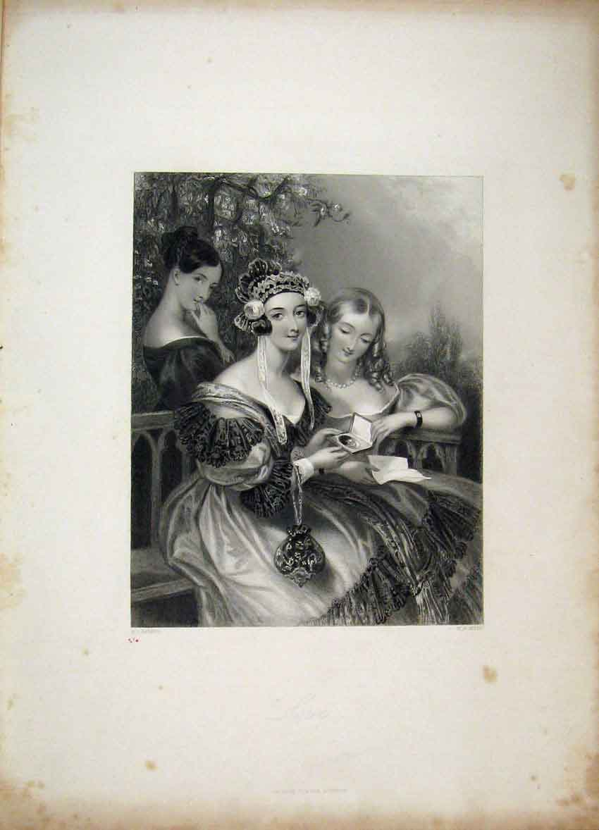 Print C1840 Gems Beauty Verse Blessington Girls Bench Mote 104B241 Old Original