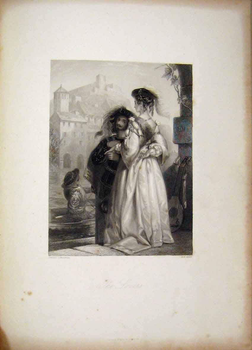 Print Verse Spanish Lovers C1840 Gems Beauty Romance Corbould 108B241 Old Original