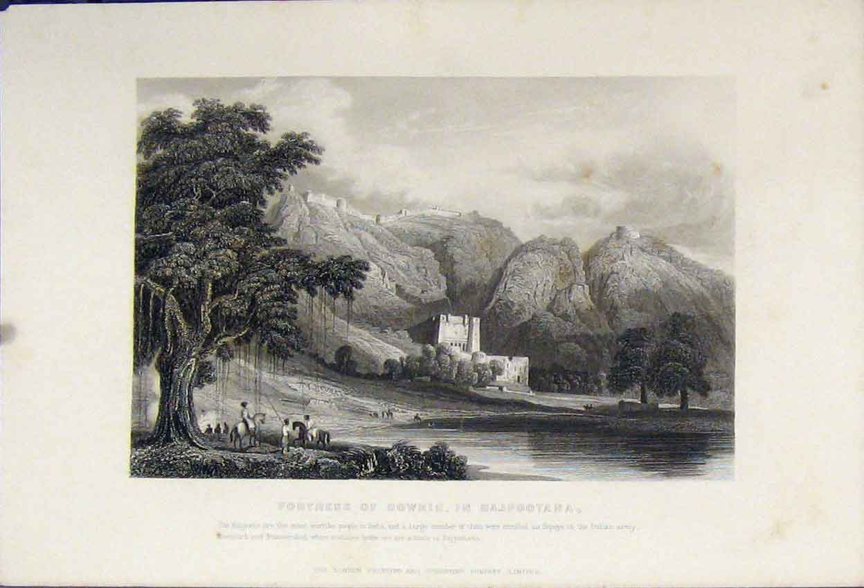 Print View Fortress Bowrie Rajpootana River Mountains C1880 112B242 Old Original