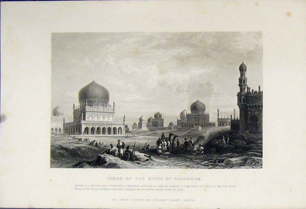 Print Tombs Kings Colconda Nizam Deccan C1880 113B242 Old Original