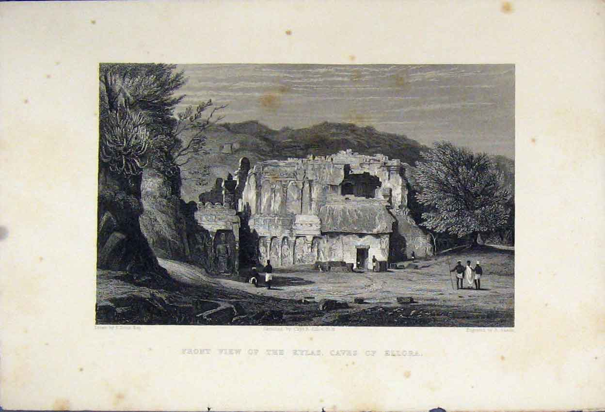 Print Front View Kylas Caves Ellora C1880 Mountain View Sands 114B242 Old Original