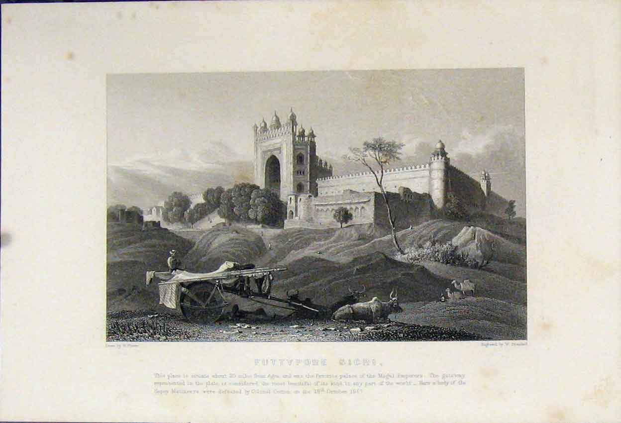 Print 1857 View Futtypore Sicri Castle Country Scene Brandard 117B242 Old Original