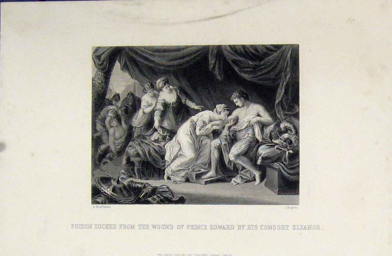 Print Poison Sucked Wound Prince Edward Consort Eleanor 234B243 Old Original