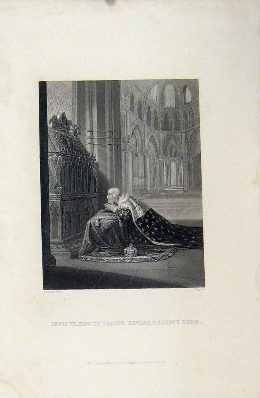 Print Lewis Vii King France Before Becket'S Tomb Rogers C1880 238B243 Old Original