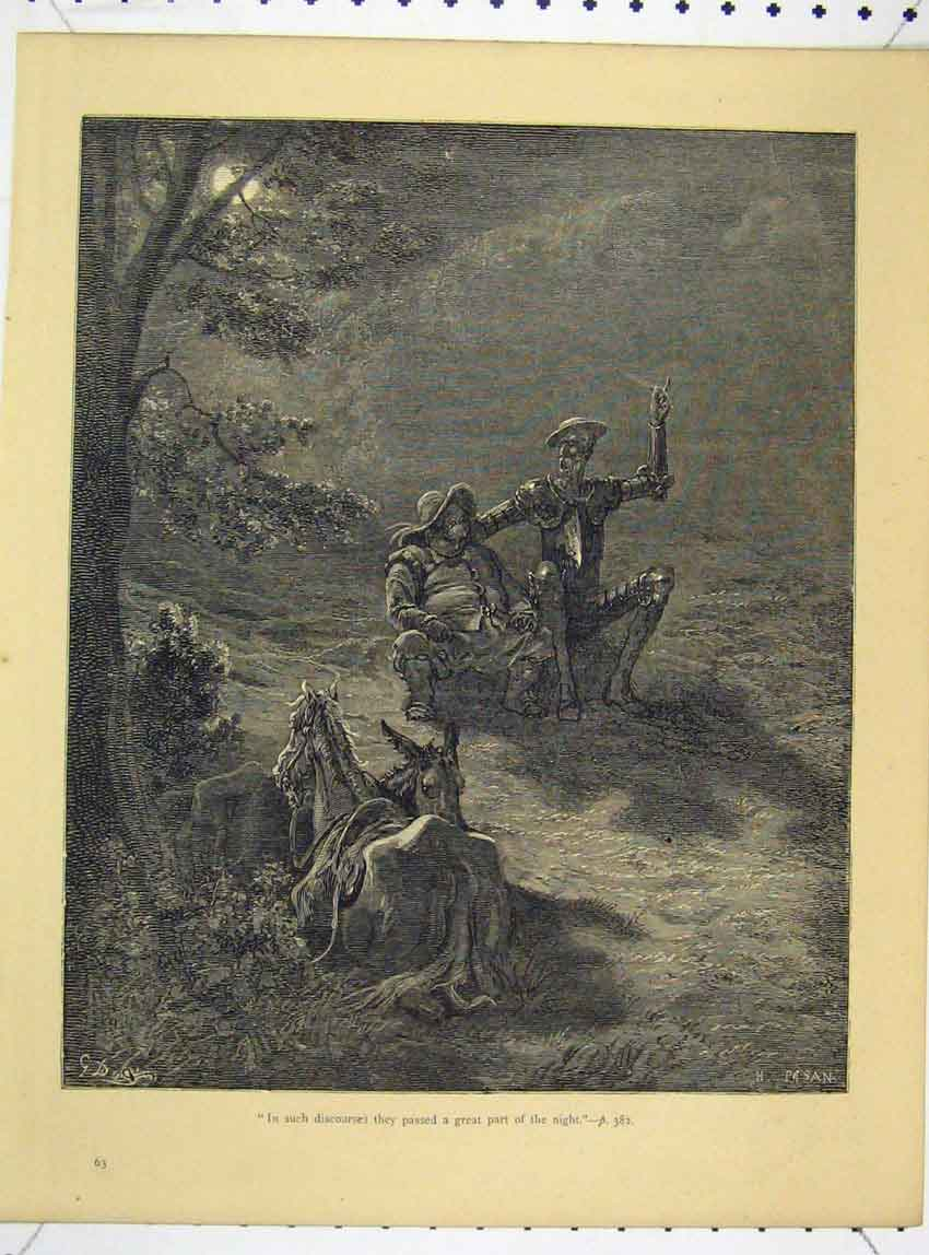 Print Don Quixote C1890 Gustav Dore Men Horse Night Scene 111B244 Old Original