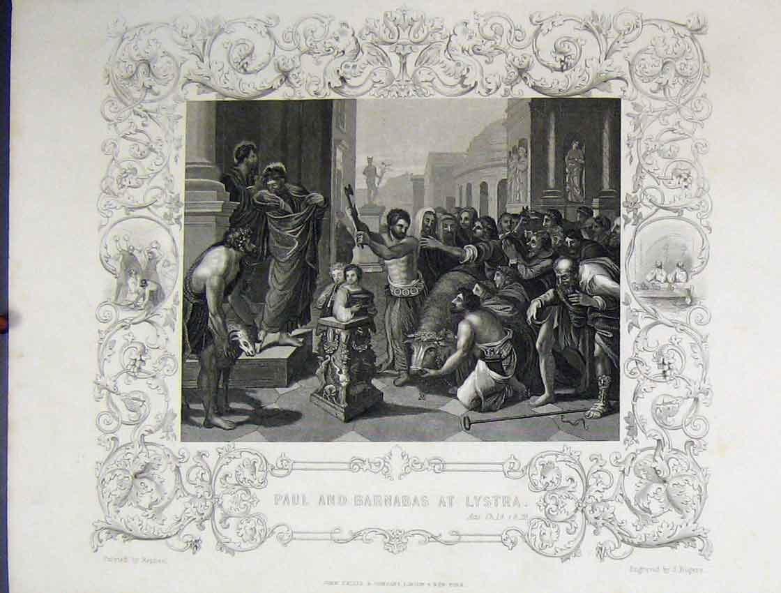 Print Scene Paul Barnabas Lystra C1860 Bible Studies Rogers 113B245 Old Original