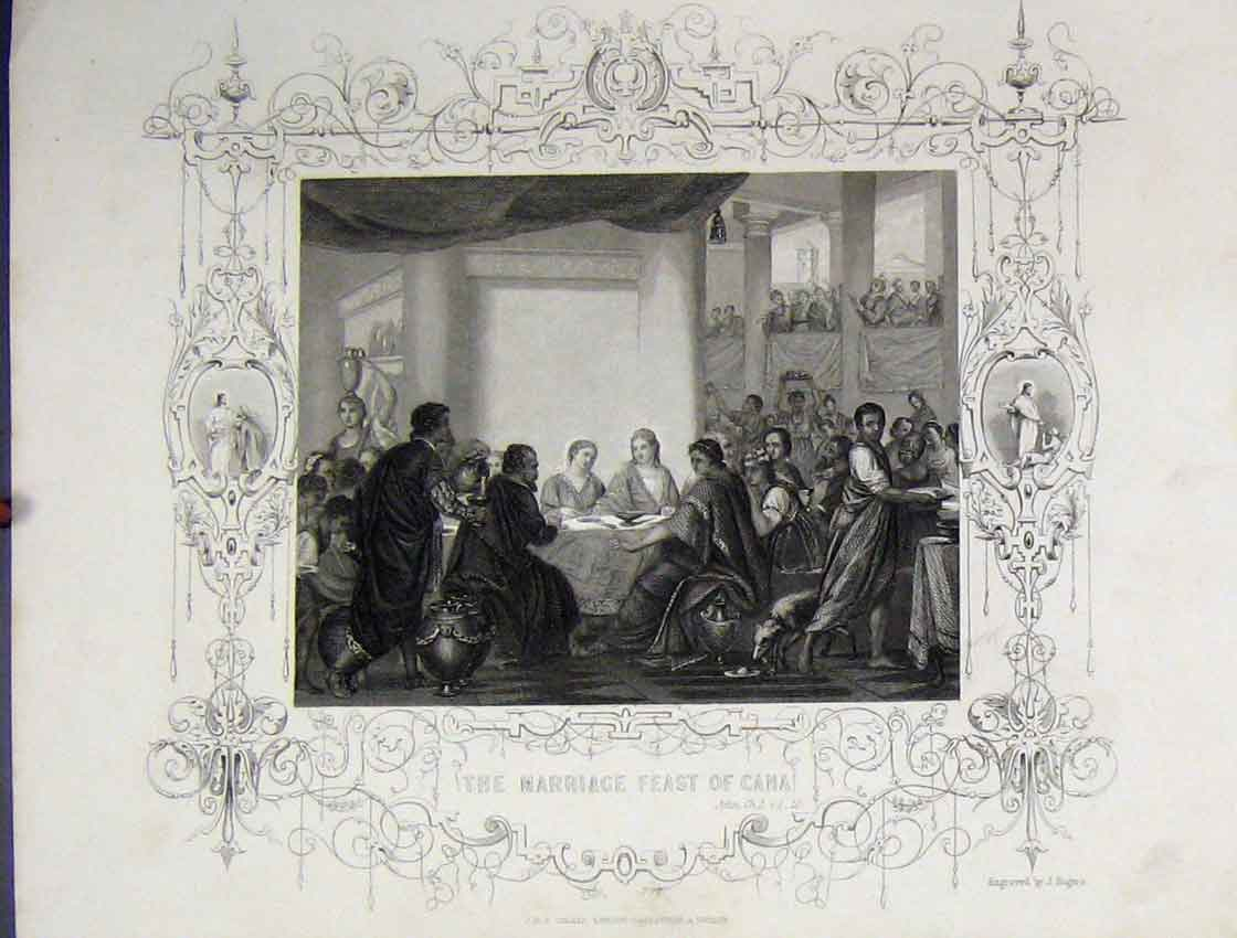 Print Scene Marriage Feast Cana C1860 Bible Study Rogers 123B245 Old Original