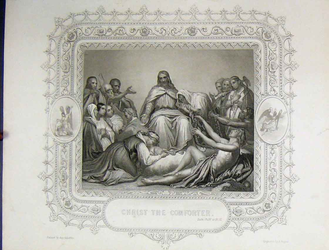 Print Scene Christ Comforter C1860 People Bible Study Rogers 125B245 Old Original