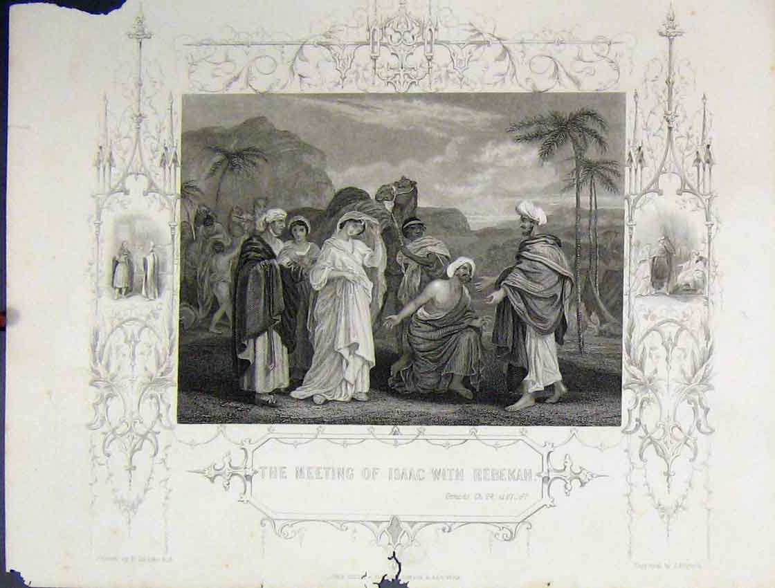Print Scene Meeting Isaac Rebekah C1860 Bible Study Rogers 127B245 Old Original