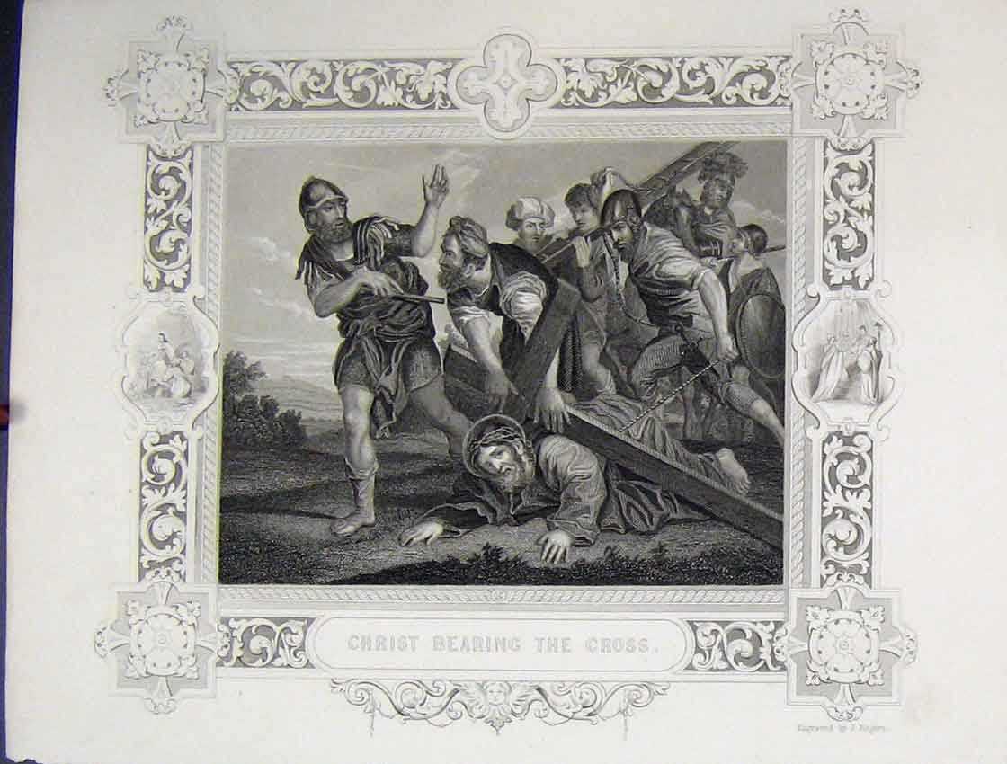 Print Scene Jesus Christ Bearing Cross C1860 Rogers 139B245 Old Original