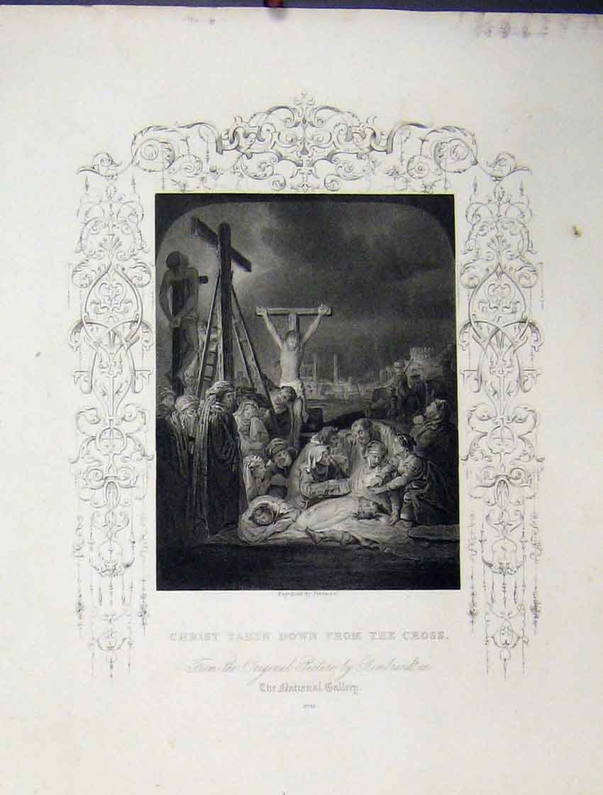 Print Scene Christ Taken Down Cross C1860 Bible Study Freeman 148B245 Old Original