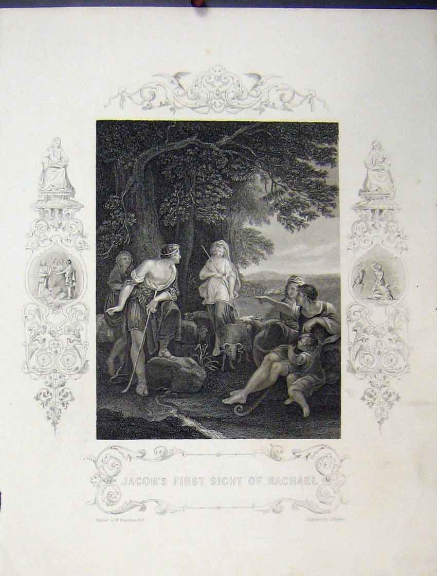 Print Scene Jacob'S First Sight Rachael C1860 Bible Study 152B245 Old Original