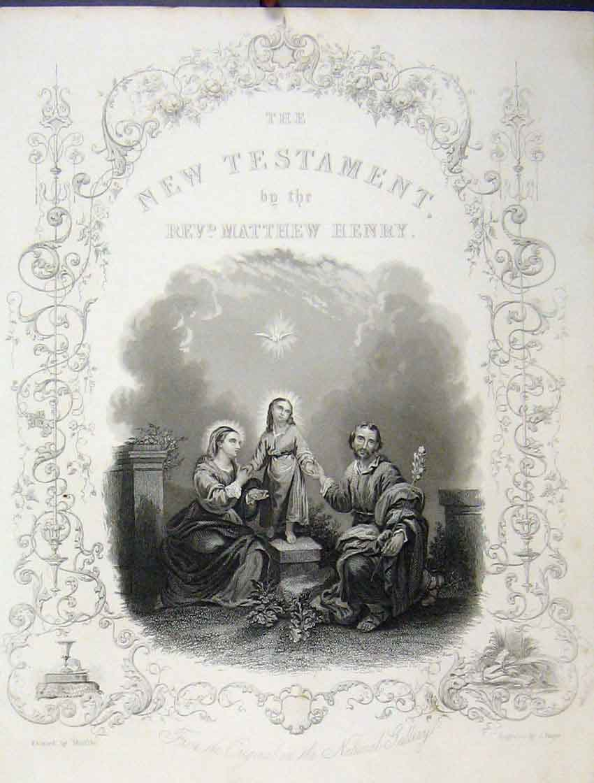 Print C1860 Cover New Testament Family Dove 162B245 Old Original