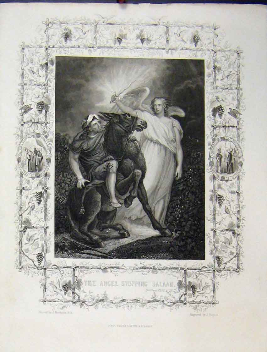 Print C1860 Bible Study Scene Angel Stopping Balaam Horse 169B245 Old Original