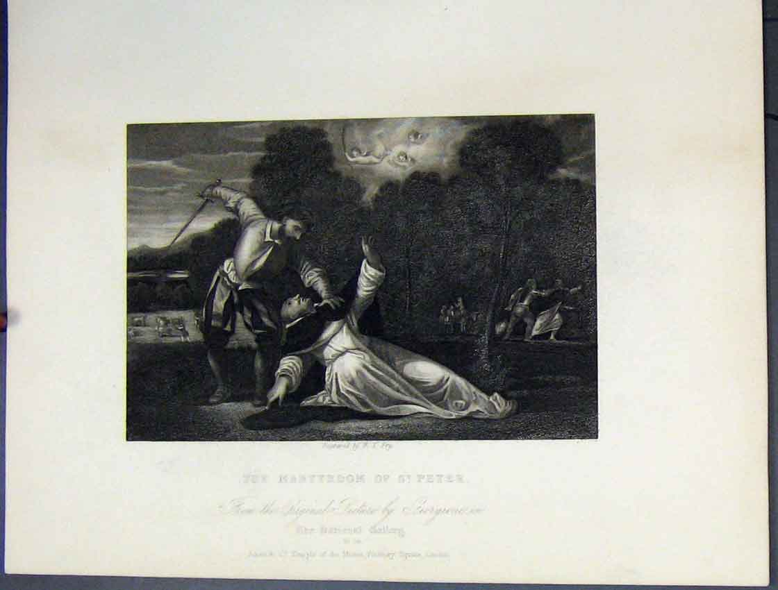 Print Scene Martyrdom St Peter Death C1860 Bible Study 176B245 Old Original