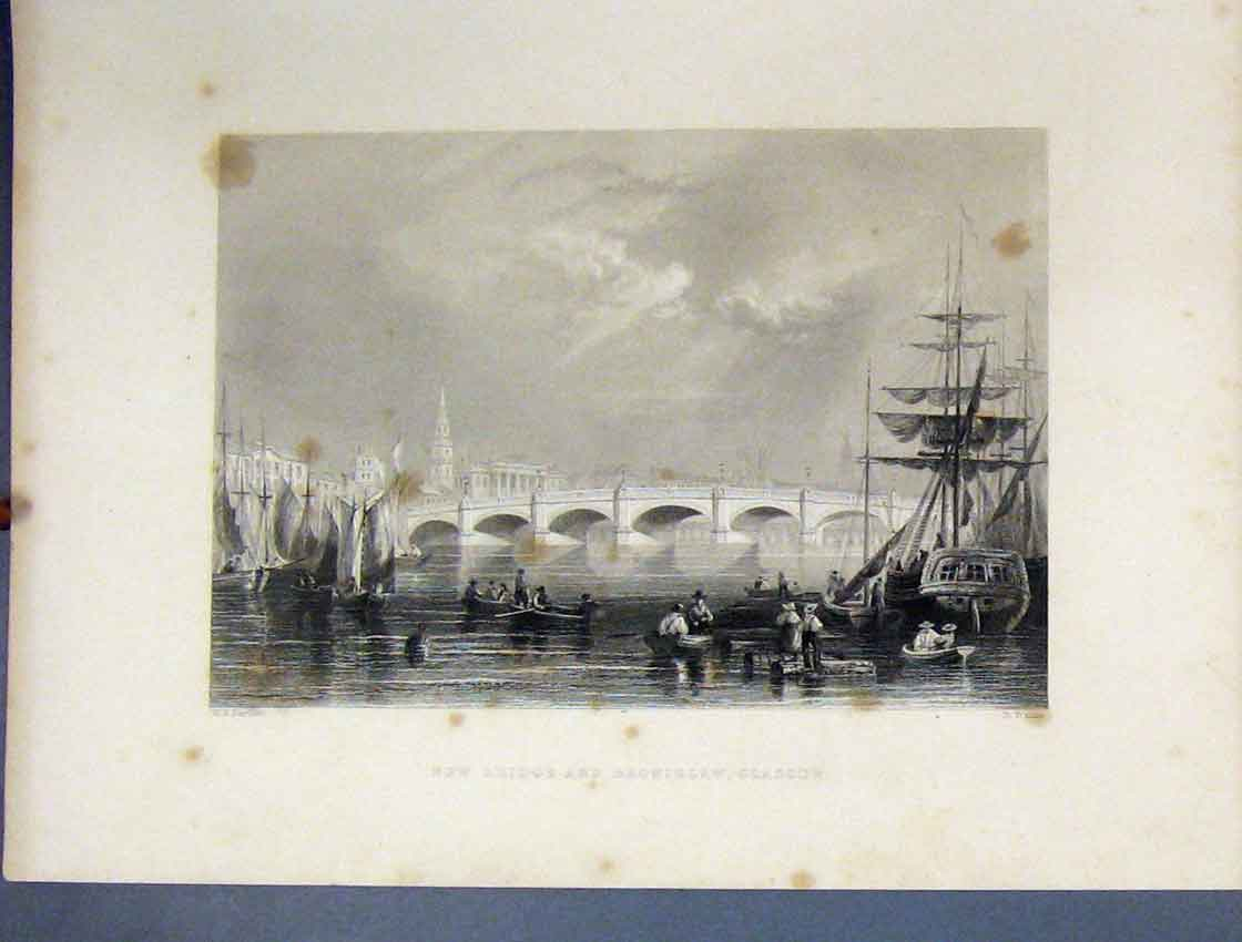 Print View New Bridge Bromielaw Glasgow River C1860 Ships 179B245 Old Original