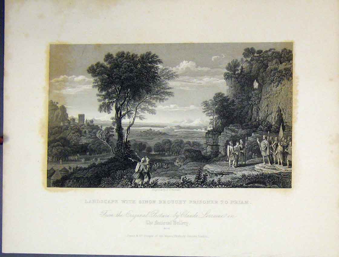 Print Landscape Sinon Brought Prisoner Priam C1860 Bible 184B245 Old Original