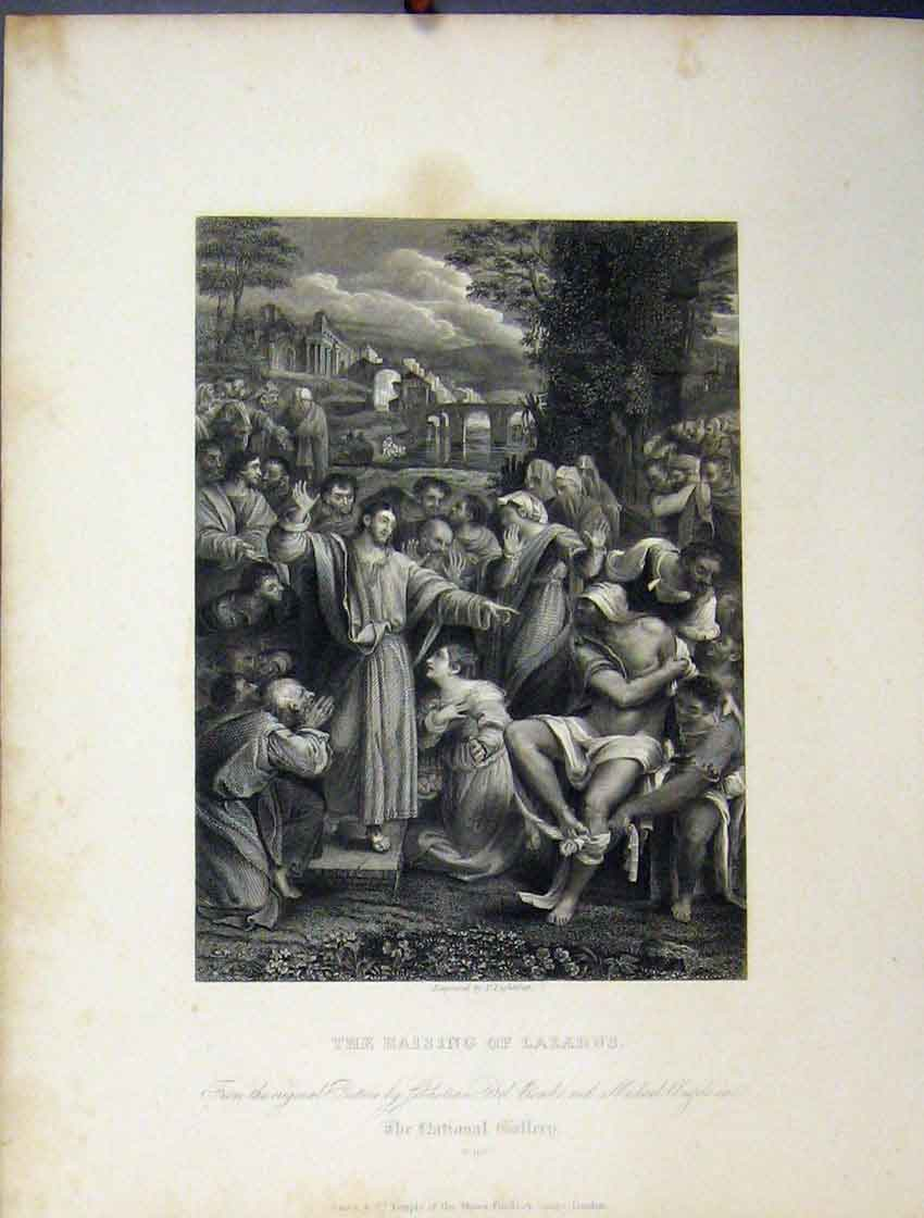 Print View Raising Lazurus C1860 National Gallery Bible Study 195B245 Old Original